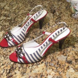 Patriotic heels in red, white and blue!